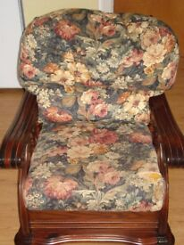 Mahogany arm chair with floral fabric