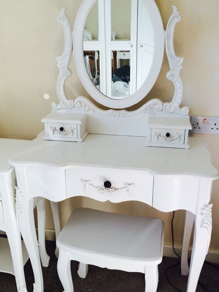"Stool Bedside Table: White Shabby Chic ""Toulose"" From Dunelm Dressing Table"