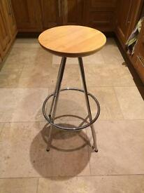 Natural wood and chrome bar stool