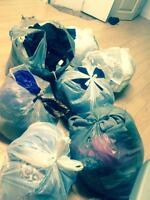 Bags of clothes ready to go