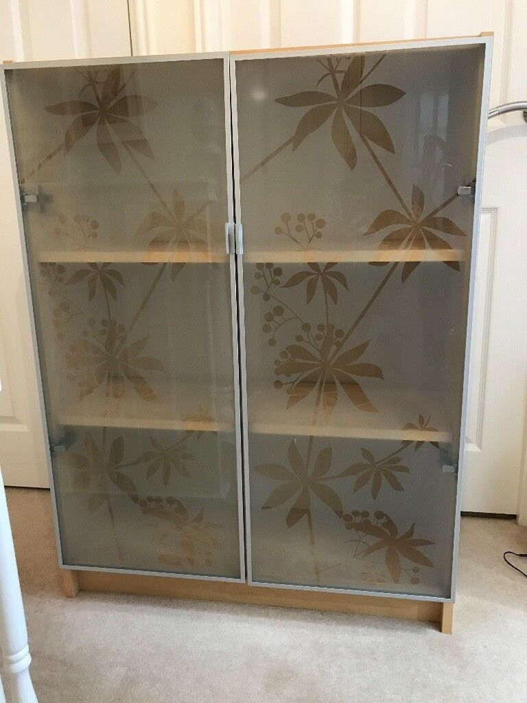 Ikea Beech Bookcase With White Leaf Glass Doors In Darlington County Durham Gumtree