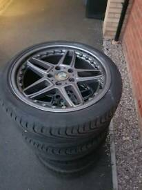 "5x120 Bmw e46 18"" ac schnitzer reps with good tyres"