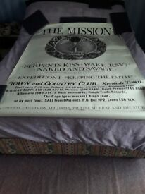 The mission mid to late 80.s gig poster plus promotion for their single serpents kiss vgc