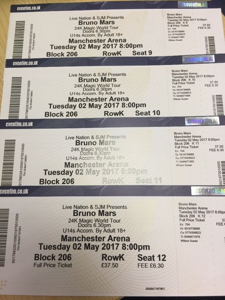bruno mars concert tickets in heywood manchester gumtree. Black Bedroom Furniture Sets. Home Design Ideas