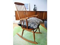 Mid century rocking chair vintage Stol Kamnik hand crafted teak armchair Danish Scandinavian design
