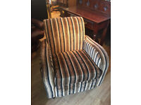 Retro style armchair , does have fire label . Great shape . Free local delivery.
