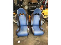 honda crx del sol blue bucket seats with rails sir jdm