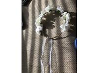 Broadway gems flower headband and hollow pearl elastic hair band
