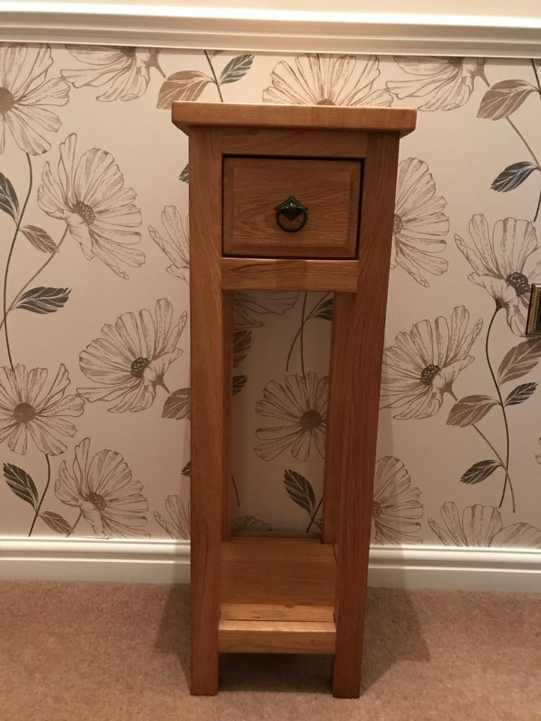 Solid Oak tall Occasional Table With drawer