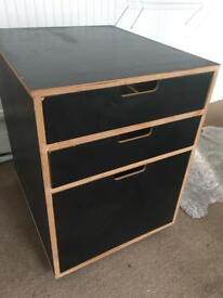 Habitat black wooden Filing Cabinet or Bedside Table on wheels
