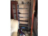 Shelving unit with blue shelves