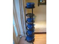 Le Creuset Stoneware Gratin Dish in Marseilles Blue & 6 Tier Pot-stand