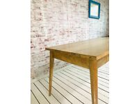 Hardwood Dining Kitchen Table with Drawers 5ft Tapered Leg Mid-Century Modern Living