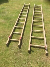 Wooden double extension ladders