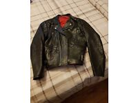 Customised vintage leather biker jacket
