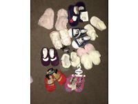 New with and without tags - 10 pairs Babies Pram Shoes - 0-6month