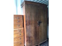 Mahogany antique wardrobe with delicate handles. Also selling matching drawers and vanity table