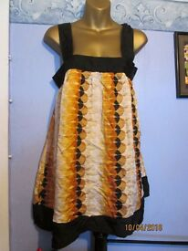 BROWN RUSTIC PATTERNED PINAFORE TYPE DRESS SIZE 10 BY ATMOSPHERE brand new
