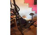 Cross trainer exercise bike combined