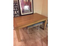 Large chunky oak wood effect dining table can be dismantled collection only £50