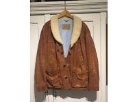 Hugo Boss tan leather coat with sheepskin trim and padded lining