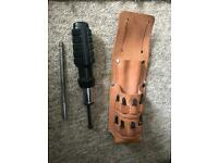 Ratchet screw driver and bits in leather holster