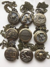 9 assorted pocket watch all different designs