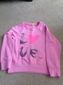 Girls Pink Sequin Heart/Love Top from Next - Age 8