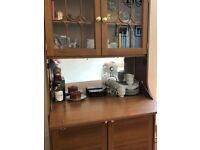 Vintage wooden glazed dresser / cupboard