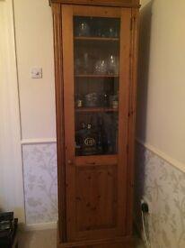 Pine cabinet tall with half glass display window