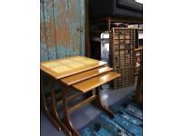 Retro nest of tables. Vintage teak coffee end side lamp mid century