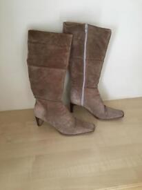 Ladies beige suede boots