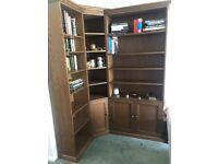 Oak veneer corner bookcase (breaks into 3 parts for moving).