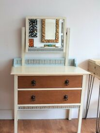 Oak Dressing Table with 2 Drawers and Matching Mirror