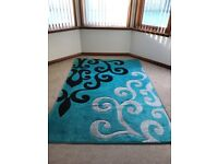 TURQUOISE PATTERN RUG, MATCHING PICTURES ETC - ALL AS NEW CONDITION