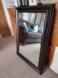Rectangle Mirror with dark faux wood surround