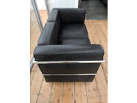 Le Corbusier style 2 seater sofa and armchair black faced leather and chrome