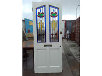 FRONT DOOR, RECLAIMED, STAINED GLASS AND SIDE PANEL.