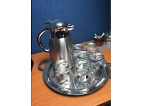 Stainless steel water jug with 6 glasses and tray