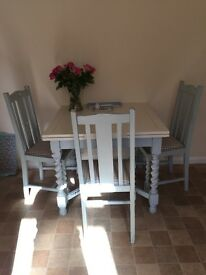 Barley Twist Shabby Chic Extending Table and Four Chairs