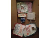 BRAND NEW BABY FEEDING: BOTTLE, TODDLER CUP, TWO BIBS, PLATE & CUTLEY, PICTURE FRAME