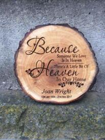 Personalised natural tree slice engraved with your details No.2