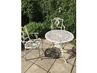 CAST ALUMINIUM CHAIRS AND TABLE