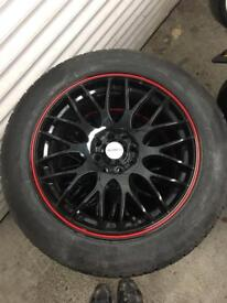Black mini 16 alloys with Tyres - nearly new