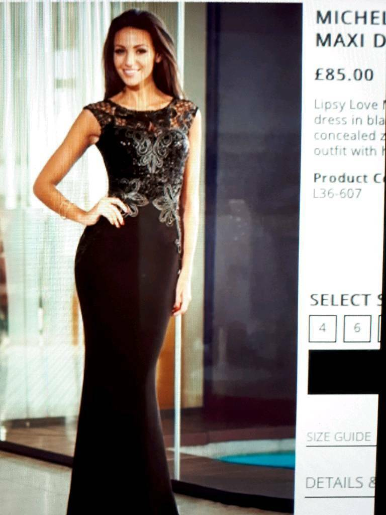 Michelle Keegan Black Ball Gown Prom Dress From Lipsy Next Size 14