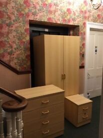 Wardrobe, chest of drawers and bedside cabinet
