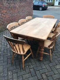 Hemlock table and chairs in used condition.