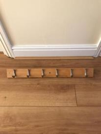 Contemporary Beech Hook Rail with 6 Brushed Nickel Hooks