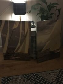 Lovely pair of canvas prints house move forces sale