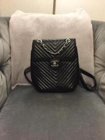 Women's black Chanel chain bag rucksack handbag shoulder